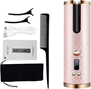 Dolson Cordless Auto Curler, Professional Fast Heating Ceramic Barrel with Adjustable Temperature & Timer, LCD Display & U...
