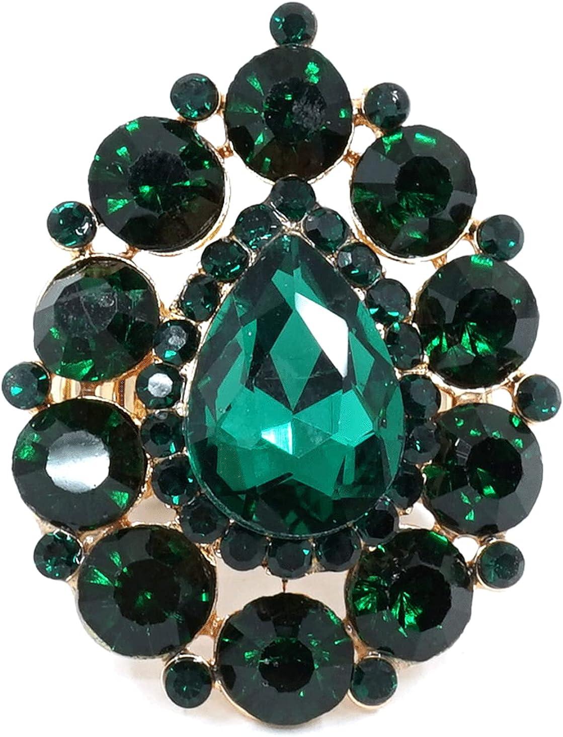 Teri's Boutique Teardrop Sparkle Round Crystal Rhinestone Elegance Beautiful Women Fashion Party Stretch Rings
