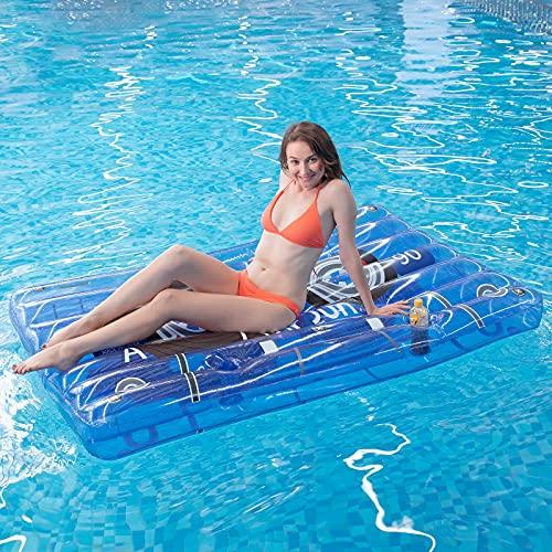 Myir JUN Riesige Luftmatratze Wasser Aufblasbare Audioband, Transparente Aufblasbare Kassette mit Becherhalter Retro Luftmatratze Pool der 80er für Erwachsene (Audioband)