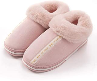 Winter Home Bag with Thick Bottom Warm Cotton Slippers-Comfortable Indoor Non-Slip TPR Breathable, Couple Men's Home,Pink,36