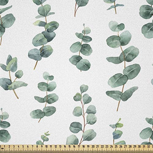 ABAKUHAUS Materiał eukaliptusowy jako sprzedawany na metry, akwarela, jak liście, jedwabista satyna do tapicerki tekstyliów domowych, 1 m (148 x 100 cm), zielony laurowowy biały