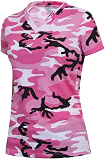 Womens Long Length V-Neck Camouflage T-Shirt, Pink Camo