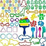LEXINCHENG Kit de Herramientas de Masa de Arcilla de 77 Piezas para niños, Varios moldes de plástico para Animales y Juego de Herramientas con números Que Incluye moldes y Accesorios de Juego