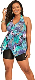 137088418b20a Swimsuits For All Women s Plus Size Flared Tankini Top with Bust Support