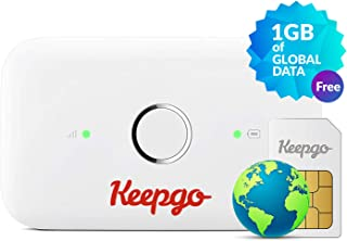Keepgo Global Lifetime 4G/LTE Mobile WiFi Hotspot for Europe, Asia & The Americas + 1GB Credit - White