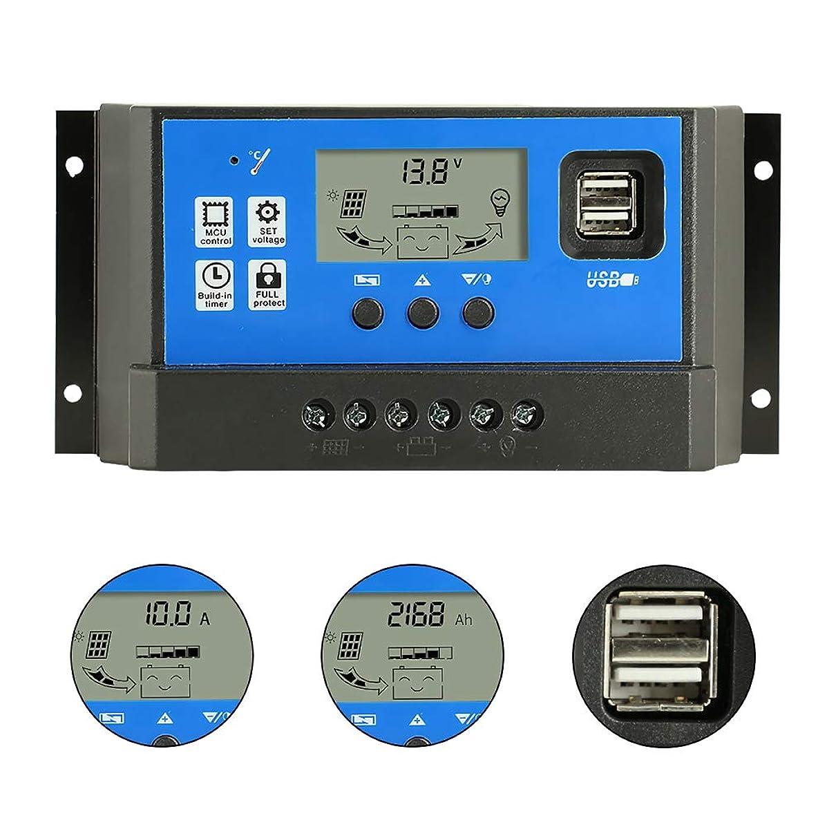 ピボット克服する大洪水PWM 60Aソーラー充電コントローラ、12V / 24V自動デュアルUSBポート、LCDディスプレイ付きインテリジェント充電レギュレータ