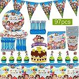 Cocomelon Vajilla De Fiesta Temática - WENTS 97 Piezas Vajilla De Cumpleaños para Niños...
