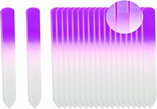 SIUSIO 20 pack Professional Czech Short Crystal Glass Baby Nail Files buffer Mini Manicure Kit Set Gradient Rainbow Color for Nail polishing - Best for Fingernail & Toenail Care(Purple)