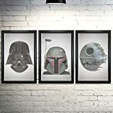 Star Wars Word Art Print Three Set 11x17' Framed - Every Line of Dialogue   typography art   made from quotes   wall home décor   original trilogy
