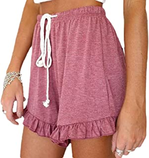Ptyhk RG Women Bermuda Ruffle Drawstring Solid Elastic Waist Stylish Shorts