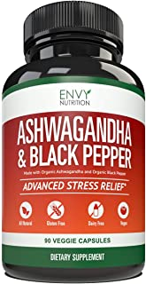 Ashwagandha Organic Capsules with Black Pepper – Best Anti Anxiety, Stress Relief, and Mood Boost Supplement for Women