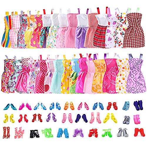 30 Pack Clothes Party Gown Outfits for Barbie Dolls with 30 Pairs Dolls Accessories Shoes for Birthday Christmas Wedding Valentine's Day Supplies