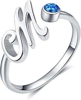 925 Sterling Silver Adjustable Blue AAA Cubic Zirconia 26 Alphabet Initial Letter Rings Personalized Jewelry Gifts for Women Birthday