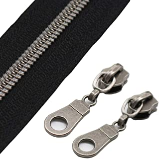 YaHoGa #5 Gunmetal Metallic Nylon Coil Zippers by The Yard Bulk 10 Yards with 25pcs Sliders for DIY Sewing Tailor Craft Bag (Black)