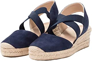 Womens Espadrilles Platform Wedge Sandals Elastic Crisscross Strappy Closed Toe Mid Heel Sandals