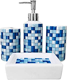 MUZI - Juego de 4 Accesorios de baño de cerámica con dise