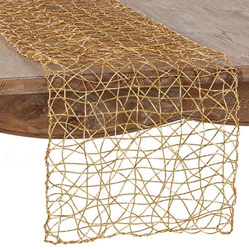 "SARO LIFESTYLE Contempo Nest Table Runner, 16"" x 72"", Gold"