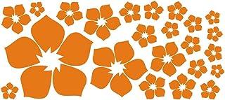 ufengke® 23 Piezas Pequeñas Flores Pegatinas de Pared, Sala de Estar Dormitorio Removible Etiquetas de la pared / Murales, Naranja