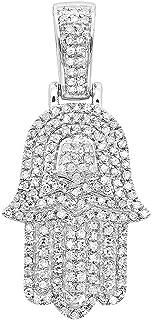 Jewish Jewelry: Small 14K Gold Diamond Hamsa Hand Amulet Pendant 0.5ctw by Luxurman