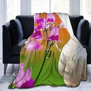 50  X 40 Teash Dos amorosas Palomas Blancas y Manta de Franela con Flores de orqu/ídeas y Mariposas Manta de Microfibra de Felpa c/álida