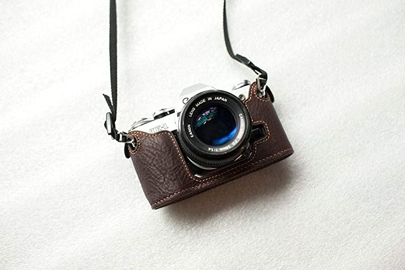 Handmade Genuine Real Leather Half Camera Case Bag Cover for Canon AE-1P (Handle) Dark Brown hlstwyyj401217