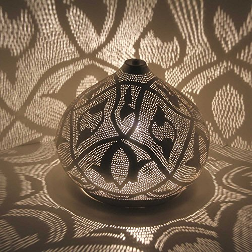 Casa Moro Orientalische Tischlampe marokkanische Bodenleuchte Qahira D28 Silber in Tropfenform mit E27 Fassung | Echt versilberte Stehlampe aus Messing | Kunsthandwerk wie Marokko | ESL2085
