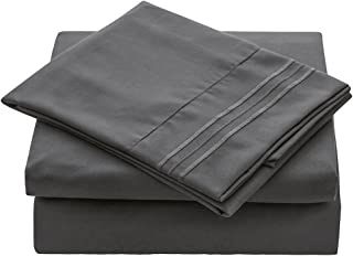 VEEYOO Bed Sheets Set Twin XL Size, Extra Soft 1800 Brushed Microfiber Sheets Set, Wrinkle Fade Stain Resistant Deep Pocket, Luxury Comfortable Breathable 3 Piece Bedding Sheets, Charcoal
