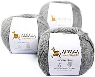 100% Baby Alpaca Yarn Wool Set of 3 Skeins Lace Worsted Bulky/Chunky Weight - Heavenly Soft and Perfect for Knitting and Crocheting (Soft Gray, Lace Weight)