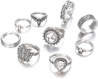 MISS PINKY 2018 New Arrival Pack of 9 Elegant Finger Rings Gemstone Rings for Women's Jewelry