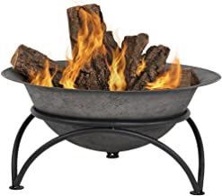 Sunnydaze Small Outdoor Fire Pit Bowl - Sturdy Stand - Wood Burning Cast Iron Fireplace - for Patio and Camping Use - Dark...