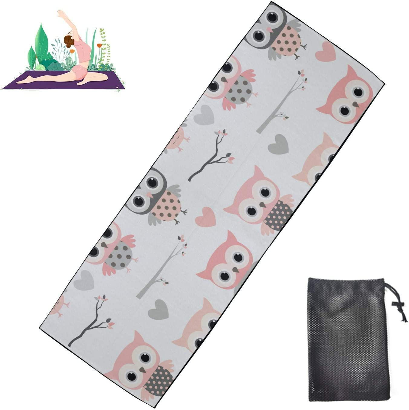 Huqalh Yoga Spring new work Gym Mat Cute Cartoon Owls S Girl Microfiber OFFicial store