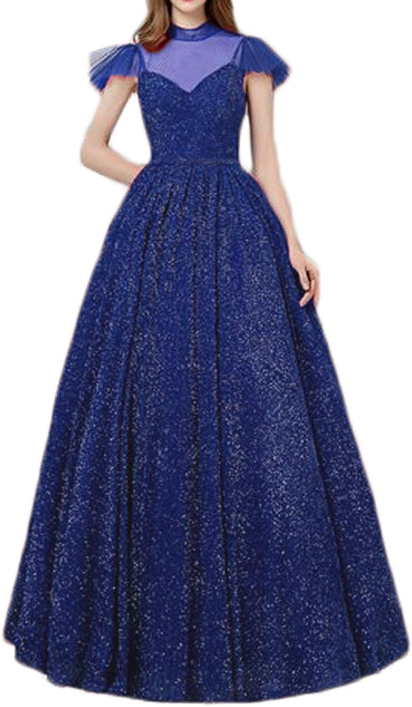 Alilith.Z Bling Bling Illusion Prom Dresses 2019 Princess High Neck Short Sleeve Long Glitter Formal Evening Dresses for Women Royal bluee