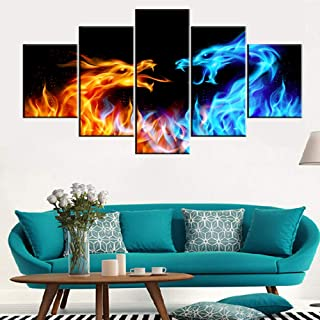 Animal Canvas Wall Art Abstract Dragon Paintings Blue and Red Fire Pictures for Living Room Multi Panel Prints Artwork on ...