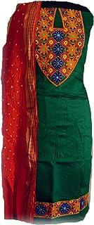 KATHIWALAS Women's Cotton Silk Kutch Work Bandhani/Bandhej Unstitched Dress Material Suit (GREEN ORANGE, Free Size)