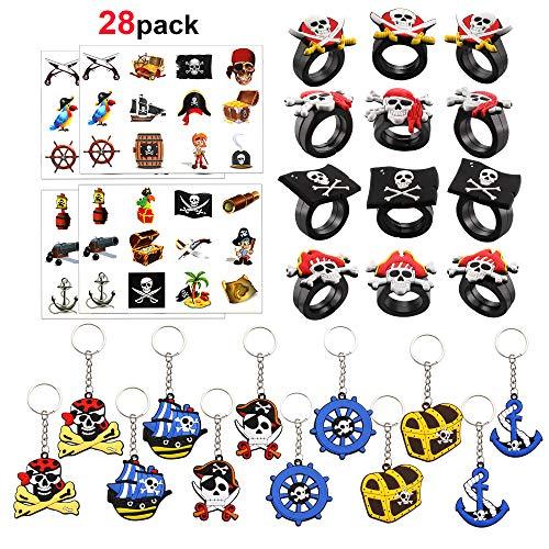 HOWAF 12 Pirate Llaveros, 12 Pirata Anillos de Silicona, 4 Hojas Pirata Tatuajes temporales para Niños Infantiles Cumpleaños Rellenar piñatas y Bolsas de Regalo de Fiestas de cumpleaños Infantiles