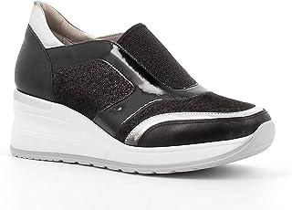 Fiorella Made in Italy Donna Sneakers Traforate con Zeppa (Nero)
