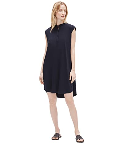 Eileen Fisher Mandarin Collar Dress (Ink) Women