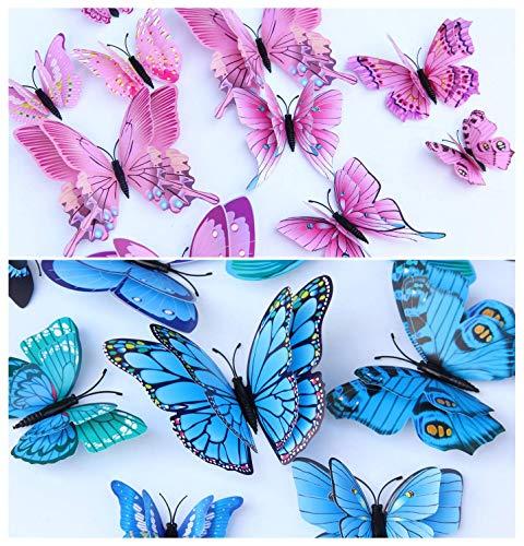 WandSticker4U®- 24er hochwertige 3D SCHMETTERLINGE Doppelflügel & Magnet I Butterfly Dekoration Fenster Möbel Basteln I Deko für Wohnzimmer Kinderzimmer Küche Wand Kühlschrank (Rosa+Blau)