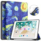 Soke iPad 9.7 2018/2017 Case with Pencil Holder, Trifold Stand with Shockproof Soft TPU Back Cover and Auto Sleep/Wake Function for iPad 9.7 inch 5th/6th Generation,Starry Night