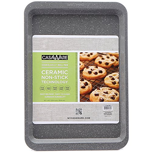 casaWare Ceramic Coated NonStick Cookie/Jelly Roll Pan (10 X 14-Inch, Silver Granite)