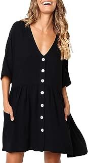 Women Casual Loose V Neck Fit Half Sleeve Short Swing Tunic Shift Dress
