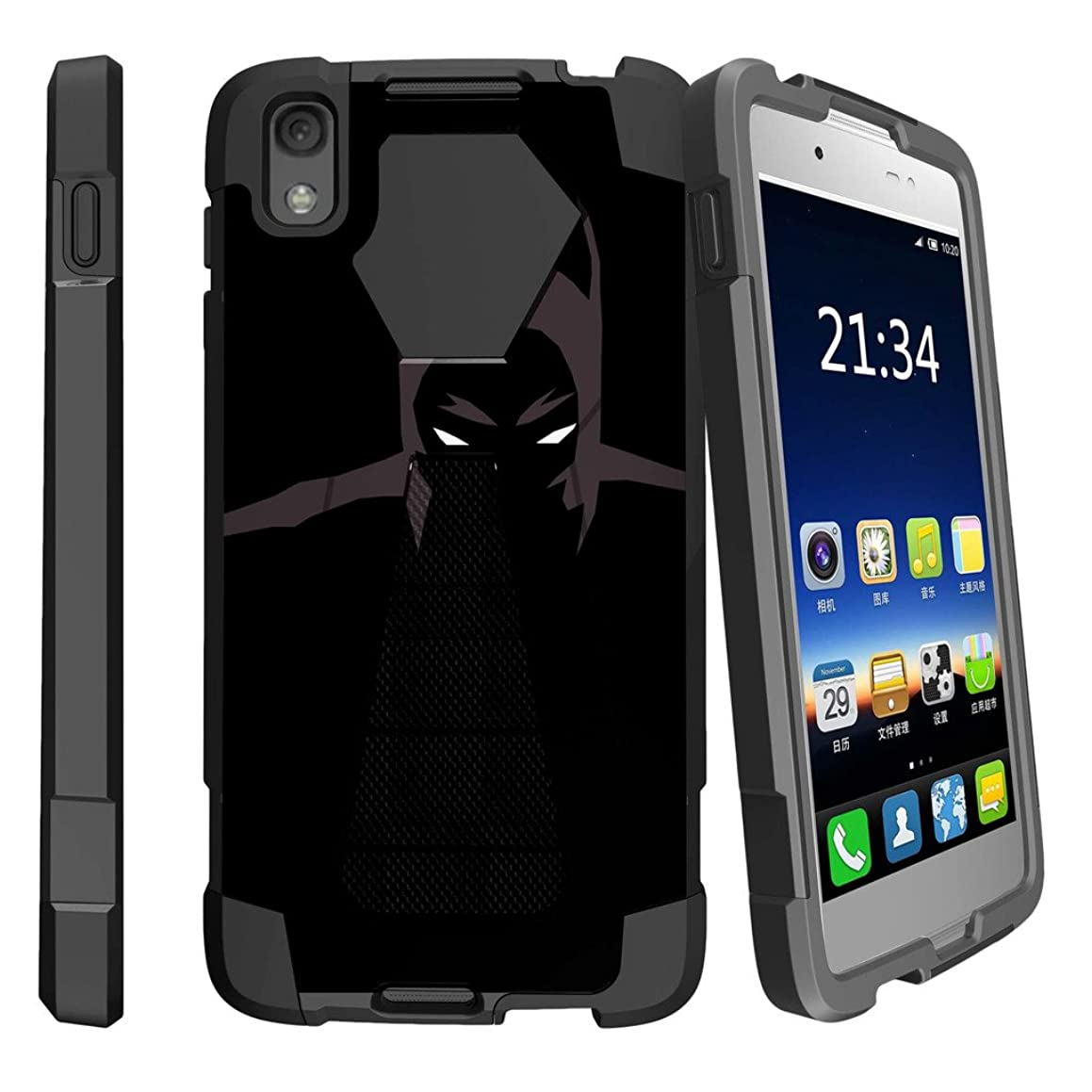 MINITURTLE Compatible with Alcatel Idol 4 / Nitro 49 Custom Phone Case Dual Layer [Shock Absorbing] Protection Hybrid Stand Rubberized Hard PC/Silicone Case Cover - Dark Knight