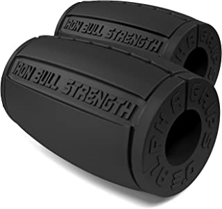 Iron Bull Strength Alpha Grips 3.0 - Extreme Arm Blaster - Best Dumbbell and Barbell Thick Bar Adapter