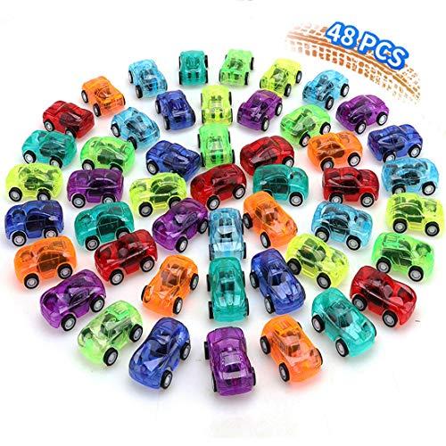 nicknack Ziehen Zurück Autos, 48PCS Mini Push and Go Autospielzeug, Geburtstagsfeier-Taschenfüller ziehen Rennfahrzeuge für Kinderjungen zurück
