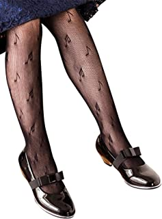 1ae3a9a31 Girls Mesh Fishnet Lace Stocking Legging Tight Musical Notes Pattern Black  White
