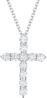 14k White Gold Created In 0.36Ct Natural Diamond Cross Pendant With Chain By Prism Jewel