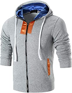 Zipper Jacket Men/'s Sweatshirt Add Fertilizer to Increase Tooling Cardigan Coat Loose Large Size Pocket Long Sleeve Hat Hooded Cowl Neck Casual Tops Spring Autumn MUMUJIN