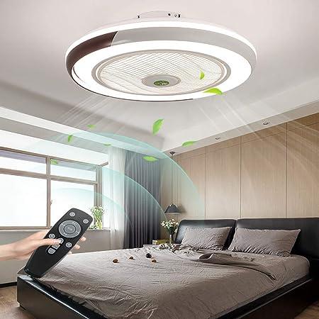 HYKISS LED Ventilateur De Plafond Dimmable Invisible Plafonnier Ventilateur Moderne Vitesse du Vent Réglable Ventilateur De Luminaires pour Salon Restaurant Chambre Éclairage Fan Lampe Ø50CM,Marron