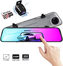 $139 Get Backup Camera Car Mirror Dash Cam,12'' IPS Full Touch Screen,2560P+1080P Resolution Front and Rear View Dual Lens,32G TF Card Included