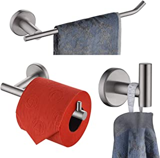 JQK Bath Hardware Towel Bar Accessory Set, 3-Piece Bathroom Accessory Set Brushed Finished Wall Mount Includes 9 in Hand Towel Bar, Toilet Paper Holder, Robe Hook, BAS103-BN